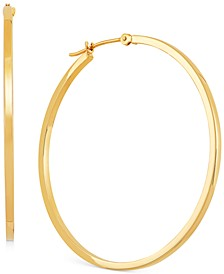 Medium Flat-Edge Hoop Earrings in 10k Gold