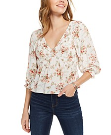 Juniors' Floral O-Ring Detail Top