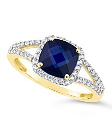 Created Sapphire (2 ct. t.w.) and Created White Sapphire (1/4 ct. t.w.) Ring in 10k Yellow Gold