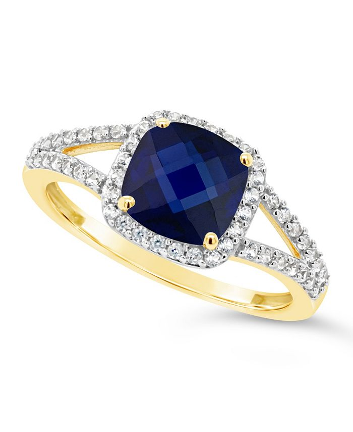 Macy's - Created Sapphire (2 ct. t.w.) and Created White Sapphire (1/4 ct. t.w.) Ring in 10k Yellow Gold