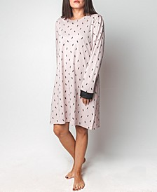 Feather Print Long-Sleeve Sleepshirt, Online Only