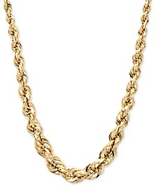 Square Graduated Polished Rope Chain in 14k Gold