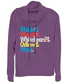 Where's Waldo Colorful Character Name Stack Cowl Neck Sweater