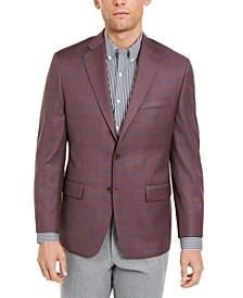 Men's Classic-Fit Burgundy/Blue Plaid Sport Coat