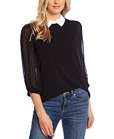 Collared Clip-Dot-Sleeve Top