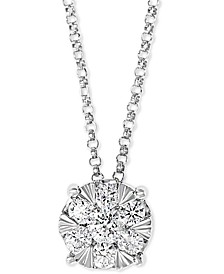 """EFFY® Diamond Cluster 18"""" Pendant Necklace (1/2 ct. t.w.) in 14k White Gold"""