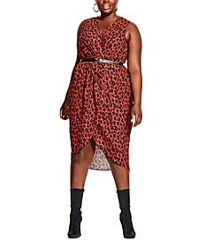 Trendy Plus Size Red Leopard Dress