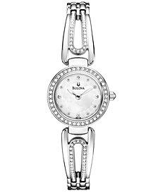 Bulova Women's Silver-Tone Crystal-Accent Bangle Bracelet Watch 23mm 96L126