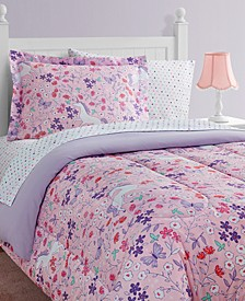 Unicorn Floral 11-Piece Full Bed in a Bag Set