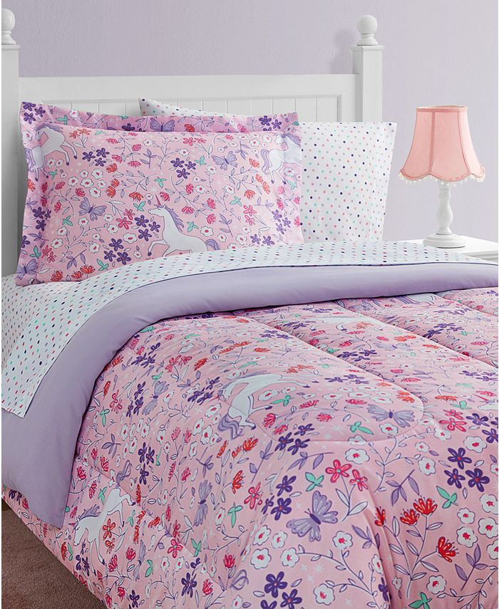 Mytex - Unicorn Floral 11-Piece Bed in a Bag Set