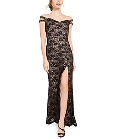Juniors' Off-The-Shoulder Lace Gown