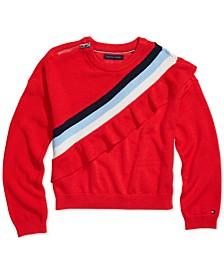 Big Girls Ruffled Sweater with Zipper Closure