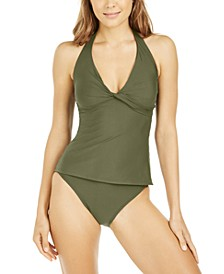 Solid Twist Front Halter Tankini Top & Classic Scoop Bottoms