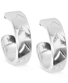 "Silver-Tone Small Chevron-Etched Huggie Hoop Earrings, 0.5"""