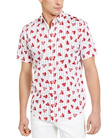 INC Men's Broken Heart Print & Striped Short Sleeve Shirt, Created For Macy's