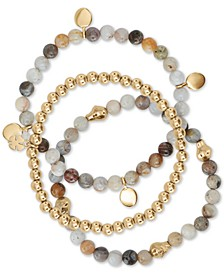 3-Pc. Set Gold-Tone Agate & Stone Beaded Stretch Bracelets