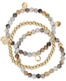 3-Pc. Set Gold-Tone Agate & Stone Beaded Stretch Bracelets