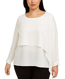 Plus Size Overlay Blouse, Created for Macy's