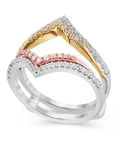 Macy's Certified Diamond (1/2 ct. t.w.) Guard Ring in 14K White, Rose and Yellow Gold