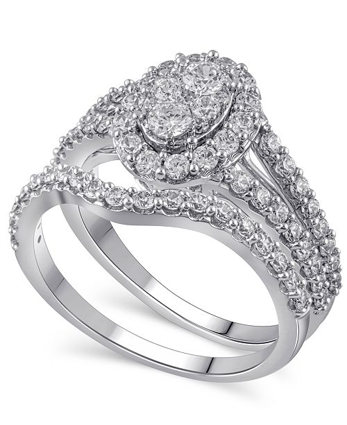 Macy's Certified Diamond (1-1/2 ct. t.w.) Bridal Set in 14K White Gold