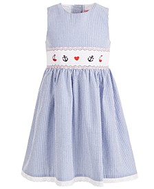 Little Girls Embroidered Seersucker Smocked Dress