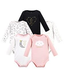Baby Girl Long Sleeve Bodysuits, 5 Pack