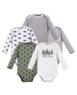 Touched By Nature Baby Boy Bodysuits, Long Sleeve, 5 Pack