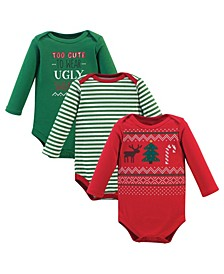 Baby Boy Long-Sleeve Cotton Bodysuits, 3 Pack