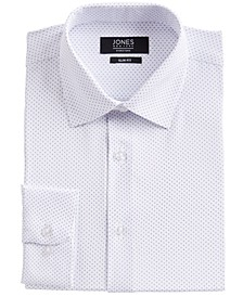 Men's Slim-Fit Performance 4-Way Stretch Tech White/Blue Dotted Diamond-Print Dress Shirt