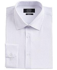 Jones New York Men's Slim-Fit Performance 4-Way Stretch Tech White/Blue Dotted Diamond-Print Dress Shirt