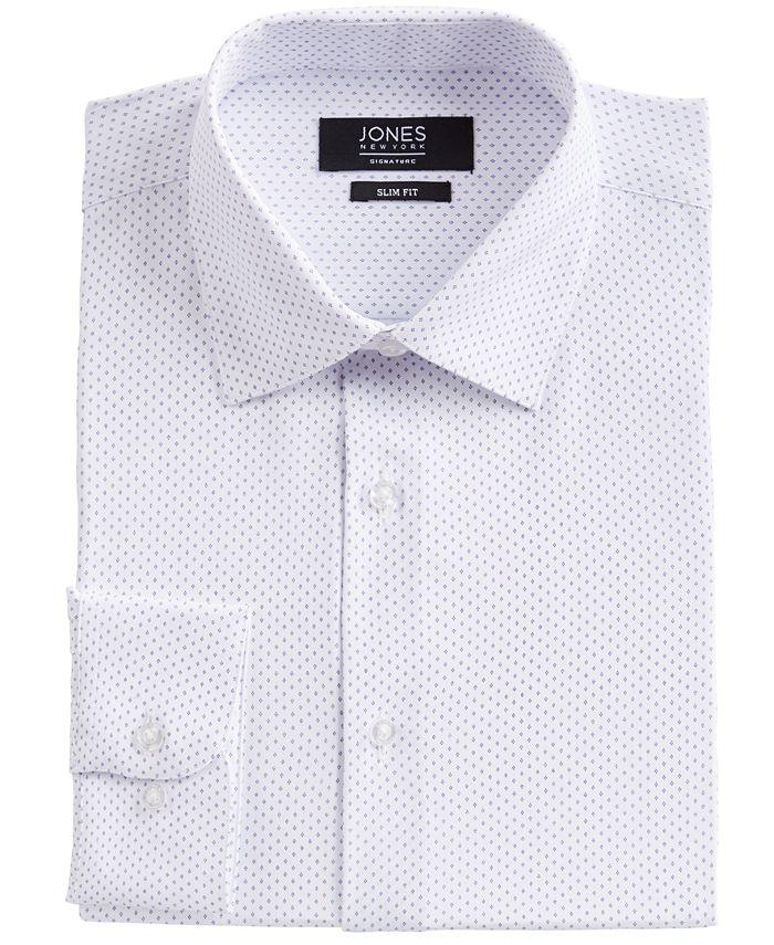 Jones New York - Men's Slim-Fit Performance 4-Way Stretch Tech Diamond Dot-Print Dress Shirt
