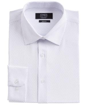 Men's Slim-Fit Performance 4-Way Stretch Tech White/Blue Dotted Diamond-Print Dress Shirt