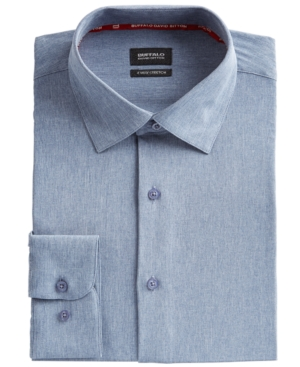 Men's Slim-Fit Performance Stretch Chambray Dress Shirt