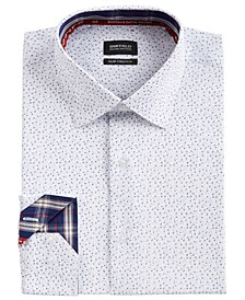 Men's Slim-Fit Performance Stretch Micro-Print Dress Shirt