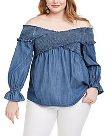 INC Plus Size Shirred Bell-Sleeve Top, Created For Macy's