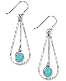 Lucky Brand Earrings, Silver-Tone Turquoise Drop Oblong Hoop Earrings