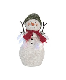 Resin  White Christmas Snowman with String Lights Decor