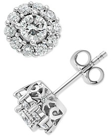 Diamond Halo Stud Earrings (1 ct. t.w.) in 18k White Gold