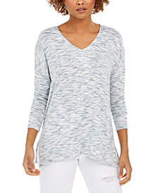 Style & Co Space-Dye Dropped-Shoulder Knit Top, Created for Macy's
