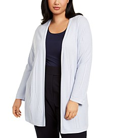 Plus Size Open-Front Cable-Knit Cardigan