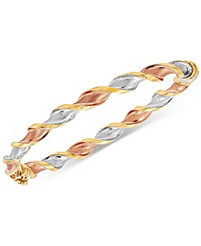 Tricolor Twisted Bangle Bracelet in 14k Gold, White Gold & Rose Gold