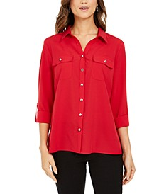Split-Neck Roll-Tab Blouse
