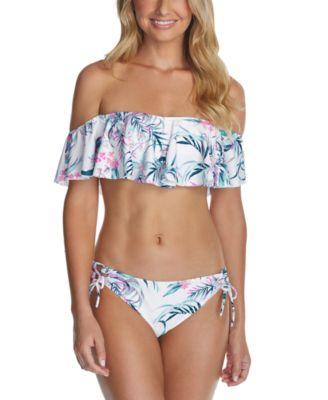 Juniors' Paraiso Printed Moonstone Ruffled Bikini Top