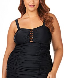 Trendy Plus Size Juniors'  Solid Grace Bay Tankini Top