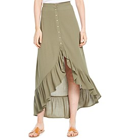 Juniors' Ruffle Hem High-Low Midi Skirt