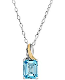 "Swiss Blue Topaz Two-Tone 18"" Pendant Necklace (2-7/8 ct. t.w.) in Sterling Silver & 10k Gold"