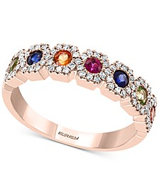 EFFY® Multi-Gemstone (1/2 ct. t.w.) & Diamond (1/3 ct. t.w.) Ring in 14k Rose Gold