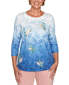 Pearls of Wisdom Hummingbird-Print Embellished Top