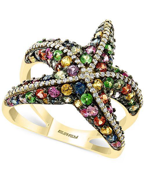 EFFY Collection EFFY® Multi-Sapphire (2-1/2 ct. t.w.) & Diamond (1/4 ct. t.w.) Starfish Ring in 14k Gold