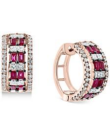 EFFY® Certified Ruby (3/4 ct. t.w.) & Diamond (1-1/8 ct.t.w.) Small Hoop Earrings in 14K Rose Gold